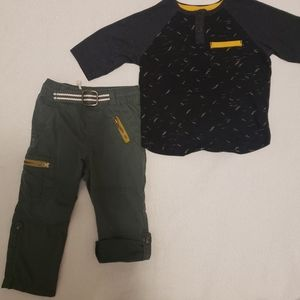 Cat & Jack Pants & Shirt 2T Black & Green